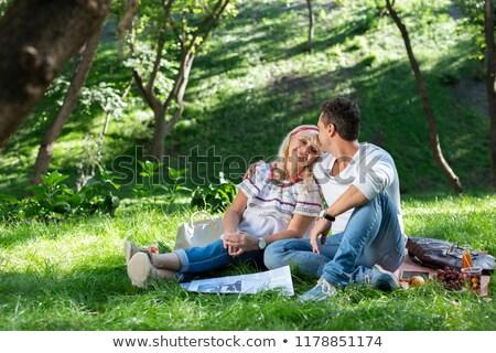 Elragadtatott anya fiú kint park egyéves Stock fotó © tommyandone