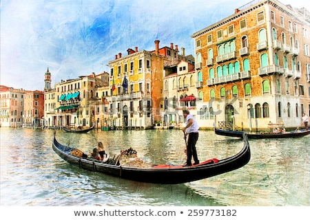 Venice. Gondolas, artwork in painting style Stock photo © Freesurf