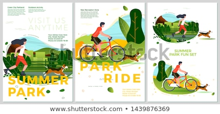 woman on a bike in summer forest stock photo © nobilior