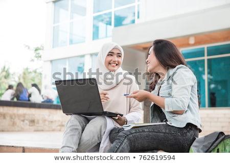 ムスリム アジア 女性 代 研究 ノートパソコン ストックフォト © palangsi
