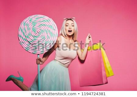 Menina rosquinha feliz elegante rosa Foto stock © LightFieldStudios