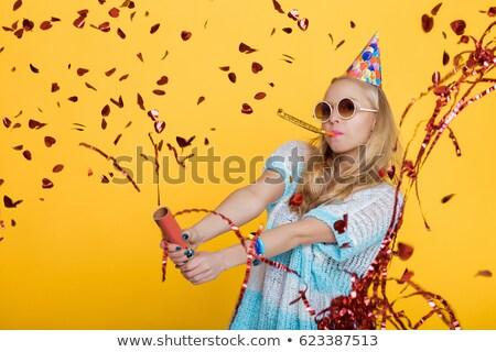belo · menina · amarelo · azul · vestir - foto stock © dmitriisimakov