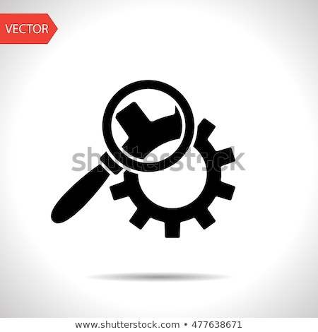 Cog Wheels Inspection Icon. Gears and Magnifier. Engineering Symbol. Stock photo © WaD