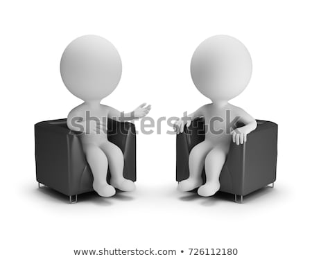 Foto stock: 3D · pequeño · personas · entrevista · persona · otro