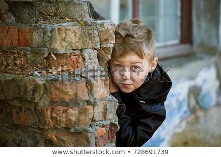 fiú · rejtőzködik · arc · portré · kaukázusi · kezek - stock fotó © is2