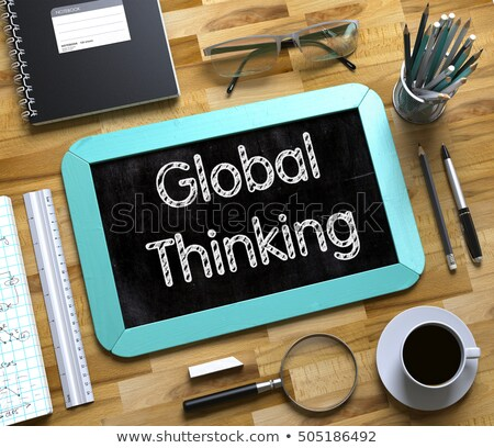 Stock photo: Global Thinking on Small Chalkboard. 3D.