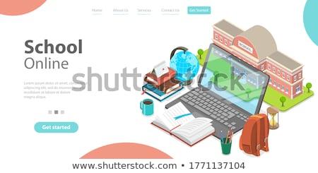 着陸 ノートパソコン 図書 を 3D ストックフォト © tashatuvango