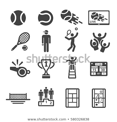 Boy with tennis racket and trophy Stock photo © IS2