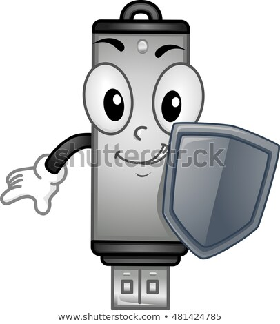 Stock photo: Cyber Security USB Mascot Shield