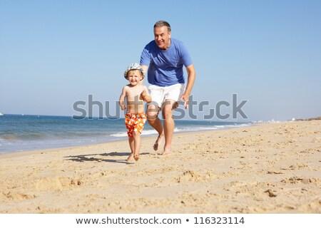 ver · sorridente · menina · senior · homem - foto stock © is2
