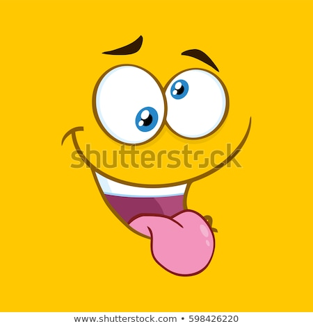 Mad Cartoon Funny Face With Crazy Expression And Protruding Tongue Stock photo © hittoon