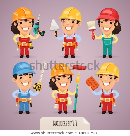 Mechanic Plumber Woman Cartoon Character Stock photo © Krisdog
