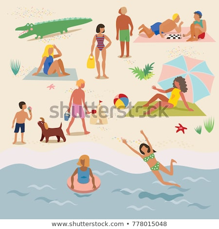 A Set of Kid at Sandy Beach Stock photo © bluering