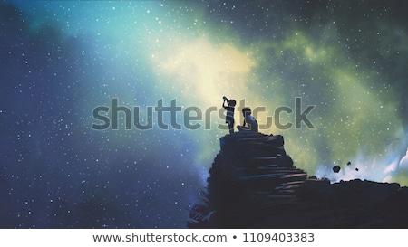 Chłopca wygląd teleskop ilustracja dziecko gwiazdki Zdjęcia stock © adrenalina