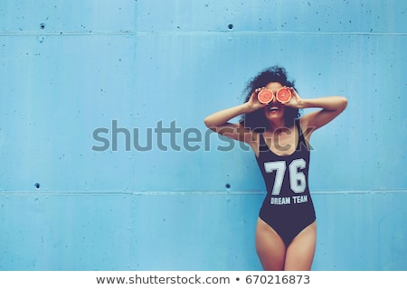 mutlu · genç · kadın · mayo · güneş · gözlüğü · iyi - stok fotoğraf © deandrobot