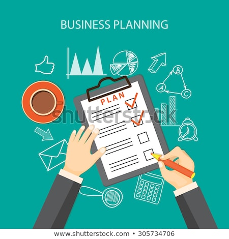 business planning   flat design style colorful illustration stock photo © decorwithme