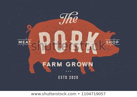 Pig, pork. Vintage logo, retro print, poster for Butchery Stock photo © FoxysGraphic