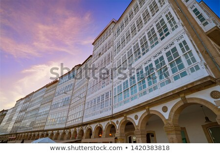 La Coruna facades near Port in Galicia Spain Stock photo © lunamarina