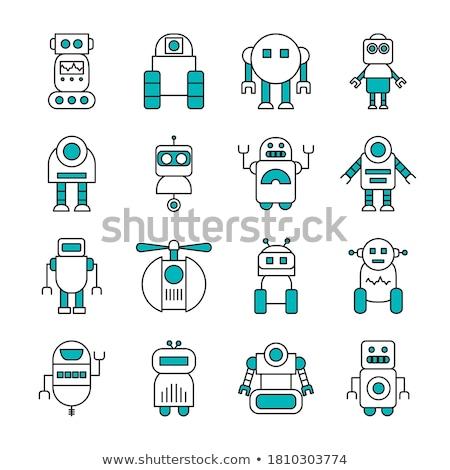 round robot icon line style on white background stock photo © marysan