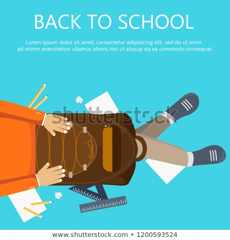Back to school banner. Boy sitting on the floor with backpack in his lap. Flat vector illustration Stock photo © makyzz
