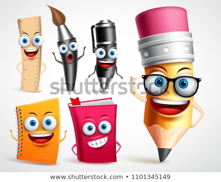 Set of Funny Cartoon Characters School Items Supplies Stock photo © ridjam
