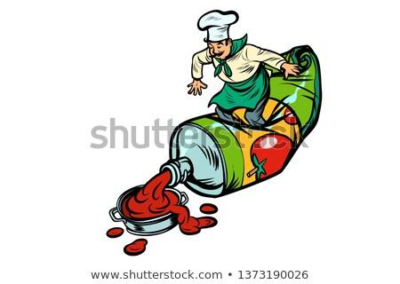 gezonde · ketchup · fles · gelukkig · voedsel - stockfoto © studiostoks