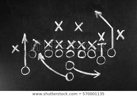 american football with play strategy on chalkboard stock photo © tab62