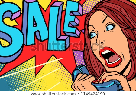 Sale, shopping season. Woman screams in phone Stock photo © rogistok