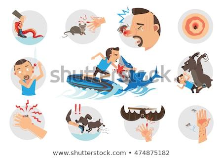 Karikatür öfkeli sörfçü sivrisinek bakıyor Stok fotoğraf © cthoman