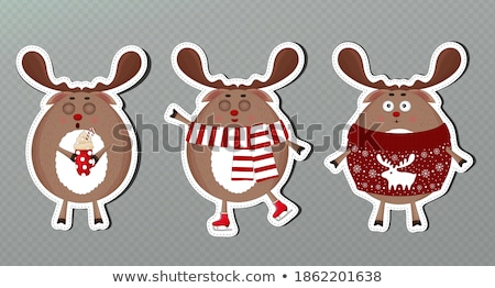 merry christmas the red nosed reindeer on skates in christmas s stock photo © ori-artiste