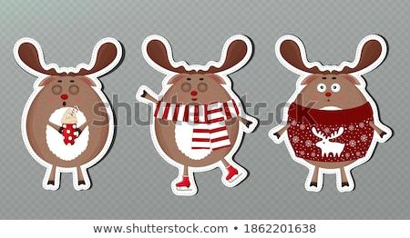 веселый Рождества северный олень коньки снега сцена Сток-фото © ori-artiste