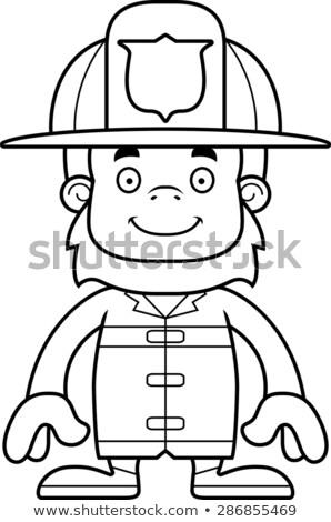 cartoon smiling firefighter sasquatch stock photo © cthoman