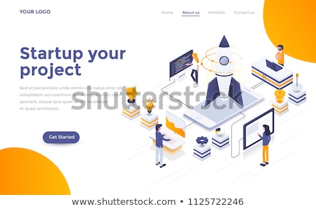 Finance - modern isometric vector landing page template Stock photo © Decorwithme
