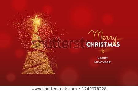 Vermelho árvore de natal partículas fundo inverno cartão Foto stock © SArts