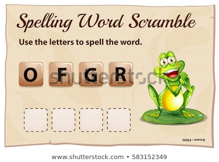 Spelling word scramble template with word frog Stock photo © colematt