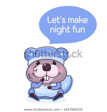 cartoon beaver in pajamas stock photo © cthoman