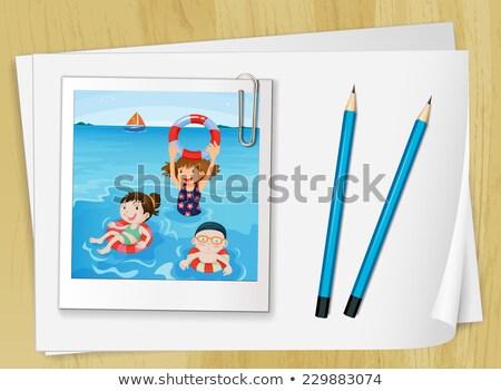 dois · branco · lápis · caneta · fundo · tabela - foto stock © colematt