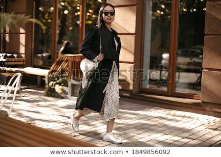 Fille élégant veste marche café dame Photo stock © jossdiim