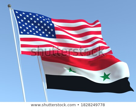 Twee vlaggen Verenigde Staten Syrië geïsoleerd Stockfoto © MikhailMishchenko