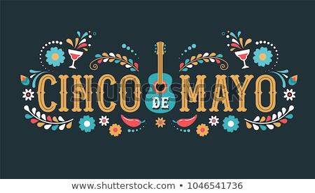 Mayonesa mexicano vacaciones texto tarjeta de felicitación aislado Foto stock © orensila