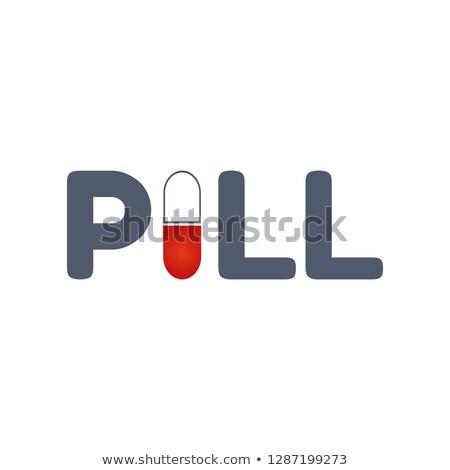 Tabletta szó kapszula tipográfiai izolált fehér Stock fotó © kyryloff