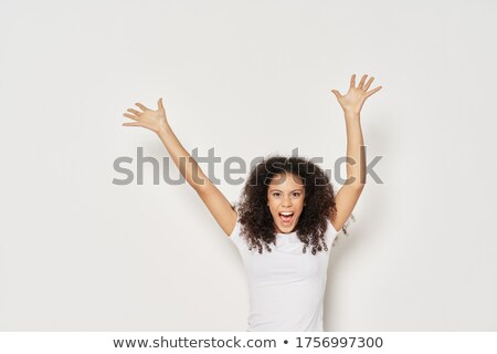 Nice black afro american on studio white background depress and sad Stock photo © Lopolo