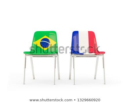 два стульев флагами Бразилия Франция изолированный Сток-фото © MikhailMishchenko