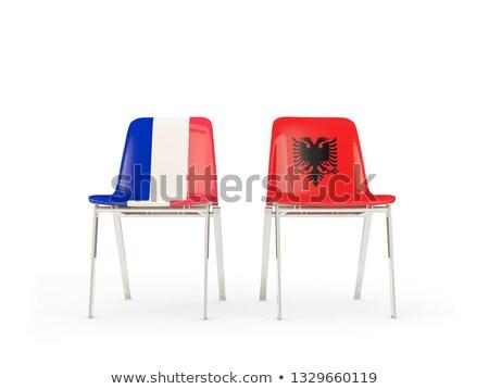Dos sillas banderas Francia Albania aislado Foto stock © MikhailMishchenko