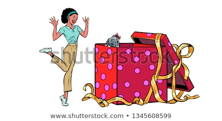 dog puppy holiday gift box. African woman funny reaction isolate on white background Stock photo © studiostoks