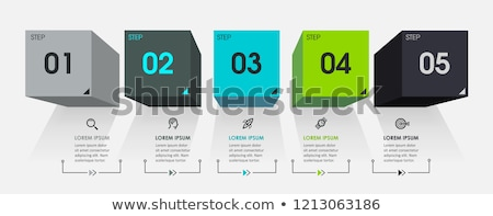 Five steps template with cubes Stock photo © orson
