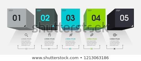 progrès · icônes · cinquième · étapes · vecteur · papier - photo stock © orson