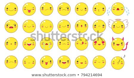 aranyos · emotikon · ikon · egyszerű · arc · különböző - stock fotó © Blue_daemon