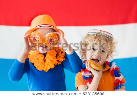 мальчика девушки флаг Нидерланды иллюстрация ребенка Сток-фото © colematt