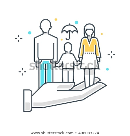 color line family insurance concept illustration flat vector stock photo © makyzz